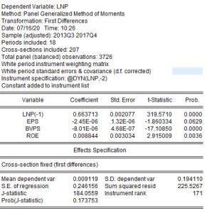 ketqua gmm 291x300 - Ước lượng GMM cực dễ trên EVIEWS